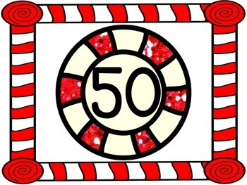 Christmas Peppermint Candy Full Page Math Number Posters 0-100