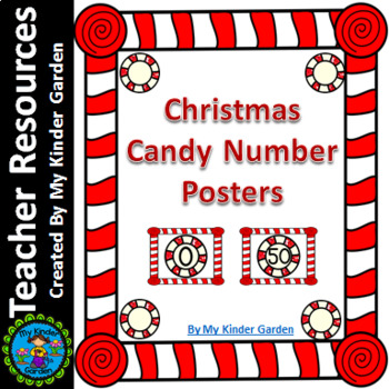 Christmas Peppermint Candy Full Page Number Posters 0-100