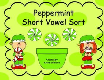 Christmas Peppermint Short Vowel Sort