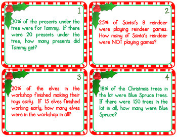 Christmas Percent Math Word Problem Task Cards