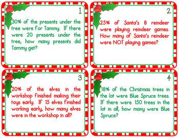 Christmas Math Percent Word Problem Task Cards