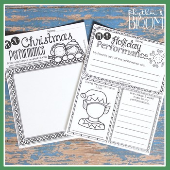 Music Performance Self Evaluation Worksheets, K-3 Christmas