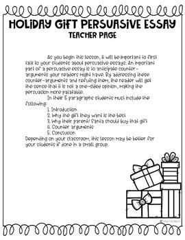 Christmas Persuasive Writing