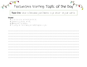 Christmas- Persuasive Writing Topic of the Day