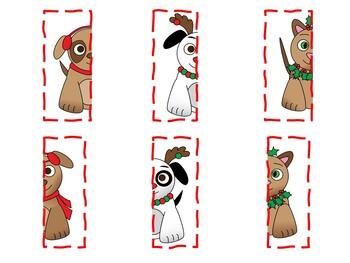 Christmas Pets Symmetry Puzzles File Folder Game