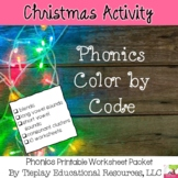 Christmas Phonics Color by Code Worksheet Packet No Prep