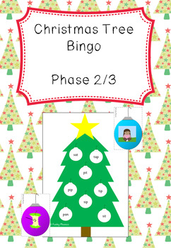 Christmas Phonics - Phase 2 Christmas Tree Bingo