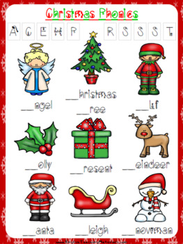 christmas phonics worksheet free freebie by prestige english tpt. Black Bedroom Furniture Sets. Home Design Ideas