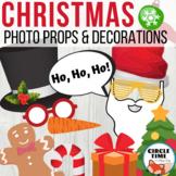 Christmas Photo Booth Props, Printable Holiday Bulletin Board Decor