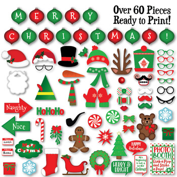 Christmas Photo Booth Props and Decorations - Over 60 Printable Props