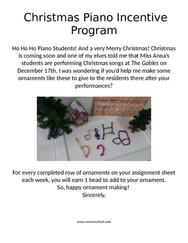 Christmas Piano Incentive Program