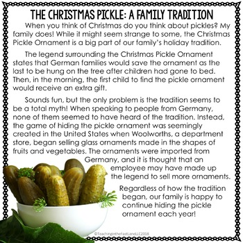 Christmas Pickle Tradition.Christmas Pickle Ornament Tradition Close Read