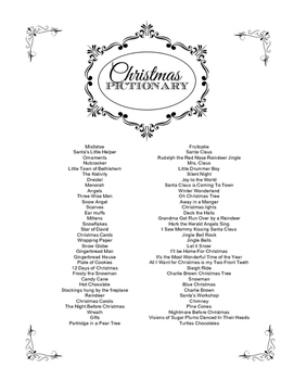 Christmas Pictionary Word List
