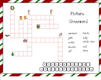 Christmas Picture Crossword Puzzle for SMART Board