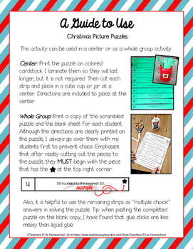 Christmas Picture Puzzles (3rd - 5th Math)