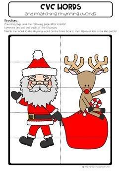 Kindergarten Christmas Picture Puzzle Activities