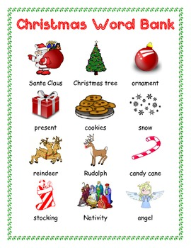 Christmas Picture Word Bank