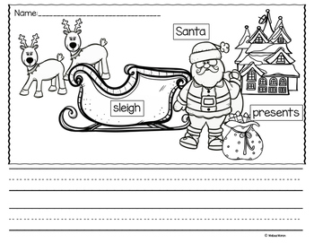 Christmas Writing Prompts (Labeled Pictures) Freebie