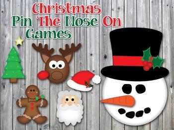 Christmas Pin The Nose On Games - Printable Christmas Party Game