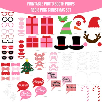 Christmas Pink Printable Photo Booth Prop Set