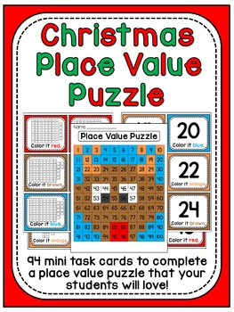 Christmas Math Center Place Value 100 Chart Puzzle By Miss