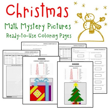 Christmas Place Value, Christmas Mystery Pictures Coloring Worksheets