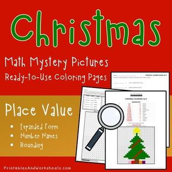 Christmas Place Value Activities, Mystery Picture Color By Number Math  Worksheet