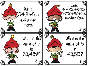 Christmas Place Value (Hundreds Place and Ten Thousands Place)