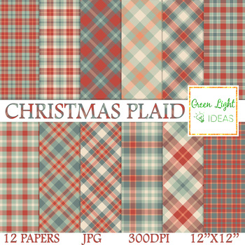 Christmas Plaid Digital Papers / Christmas Tartan Backgrounds / Plaid Background