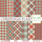Christmas Plaid Digital Papers / Christmas Tartan Backgrou