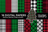 Christmas Plaid Digital Papers Set, Tartan, Gingham Backgrounds, Free Clipart