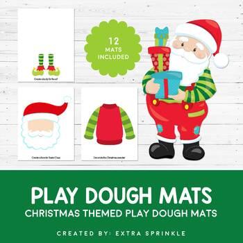 Christmas Play Dough Mats Set of 12