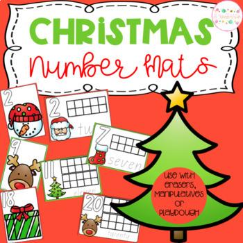 Christmas Playdough Number Mats