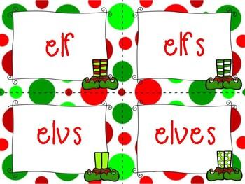 Christmas Plural Noun Sort Task Cards