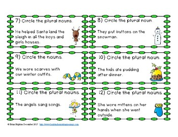Christmas Plural Nouns Task Cards