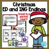Christmas -ed and -ing ending /Scrambled Sentence Pocket Chart