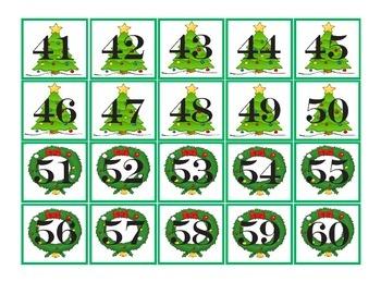 Christmas Pocket Chart Number Cards 1-100