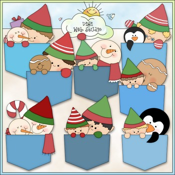 Christmas Pockets Clip Art - Christmas Clip Art - Snowman - CU Clip Art & B&W
