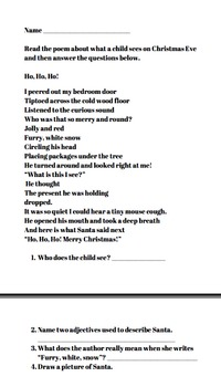 Christmas Poem And Questions