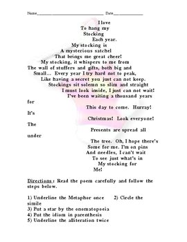 Christmas Poem Concrete Stocking