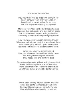 Christmas Gift Exchange Poem.Christmas Poem For Teachers From Teachers