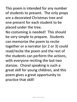 Christmas Poem/Play:   Presents Under The Tree