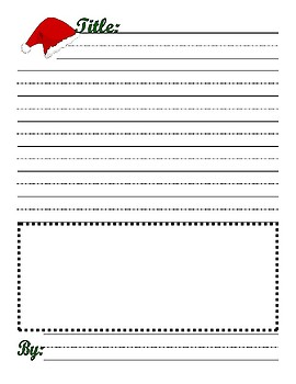 Christmas Poem Writing Journal Illustrate page : with Lined Handwriting Paper