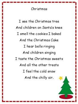 Christmas Poetry:  5 Senses Poem