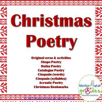 Christmas Poetry Activities, Worksheets & Activities. by Marilyn of ...