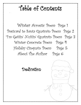 Winter and Christmas Poetry Writing 5 Poem Book Activity