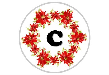 Christmas, Poinsettia Flowers, December, Circle Banner Bulletin Board Letters