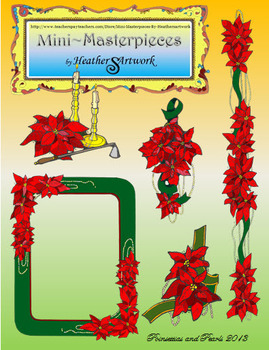 Clip Art: Christmas Poinsettias, Candles and Pearls by HeatherSArtwork