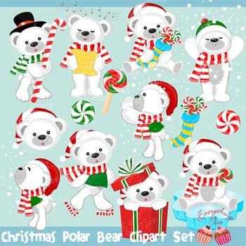 Christmas Polar Bear Bears Clipart Set