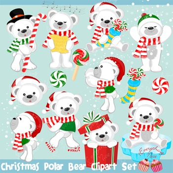 Christmas Polar Bear Bears Clipart Set